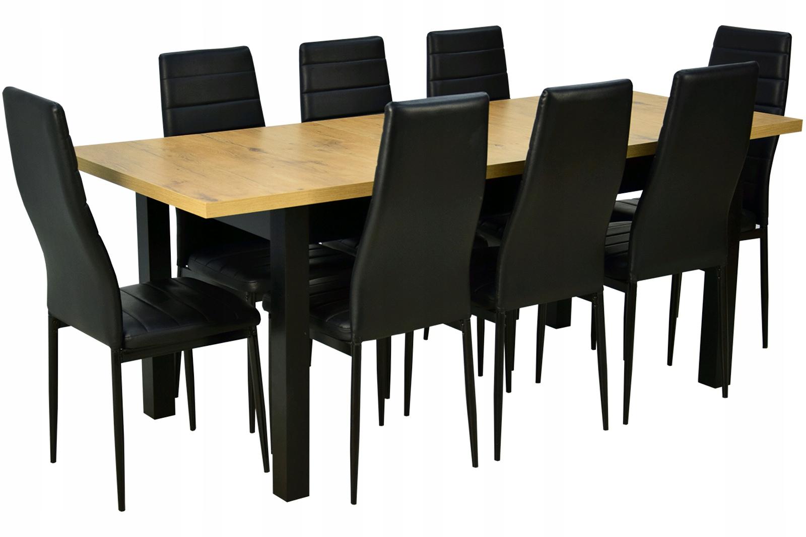 DUŻY ZESTAW Stół do 2m plus 8 krzeseł EKOSKÓRA