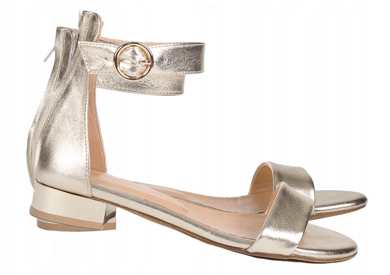 Sandały Skórzane Złoty Lustro S710 LaFEMME r- 37