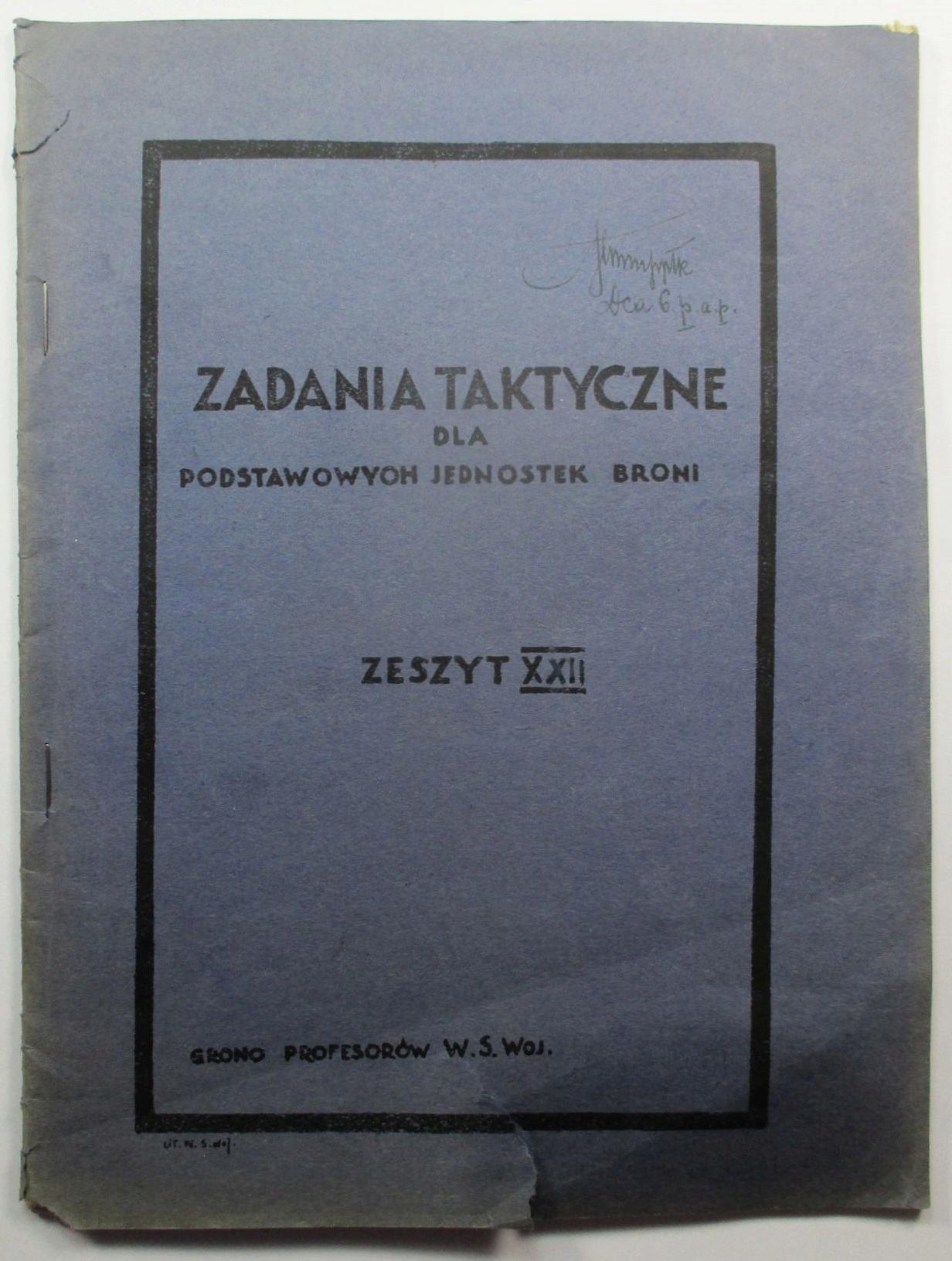 Zadania taktyczne, autograf ppłk Geniusz 1931 MAPA