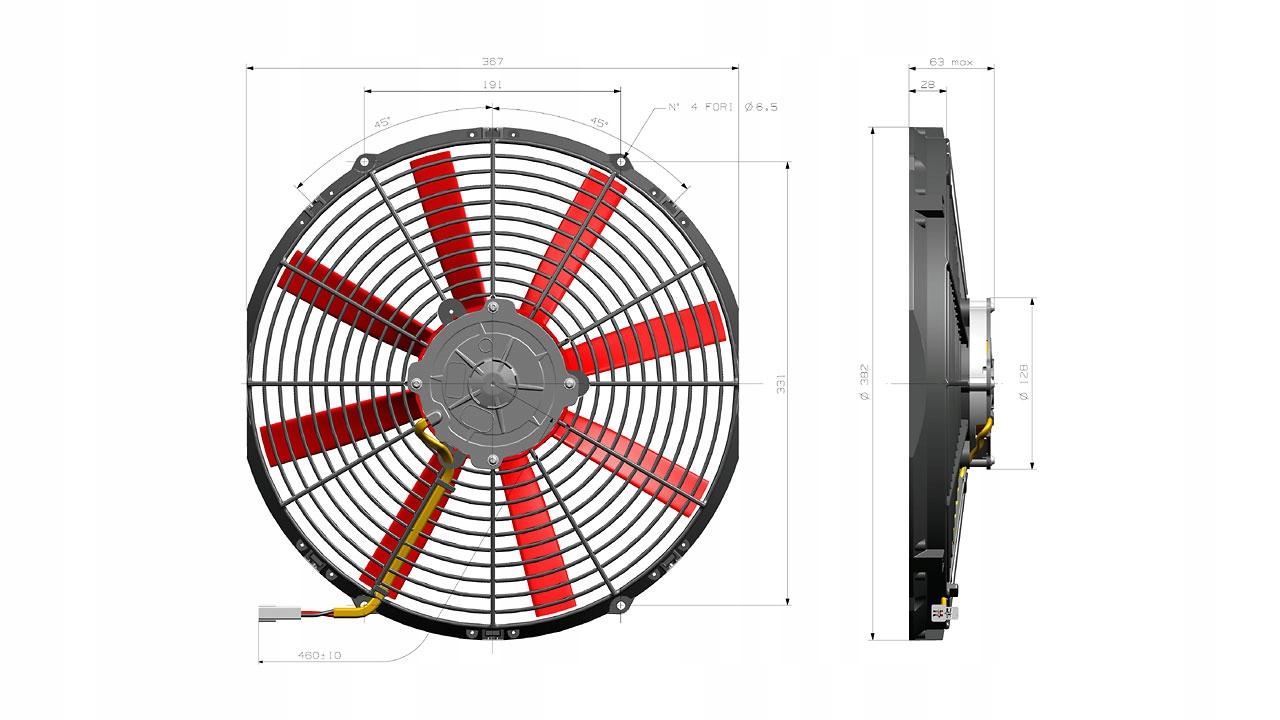 вентилятор осевой 350mm 12v всасывающий va08-ap51ll-23a