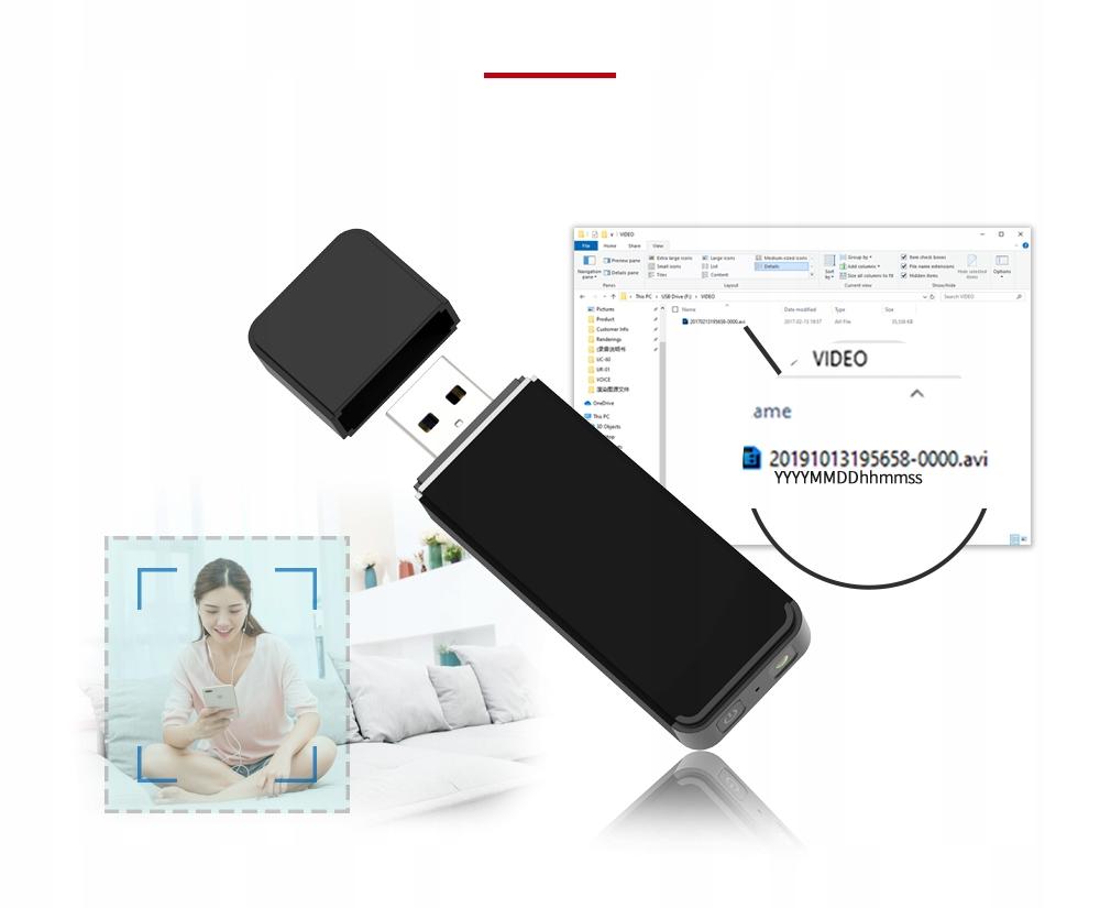 PENDRIVE MINI KAMERA USB FULL HD DETEKCJA DO 128GB Kod producenta UC-60