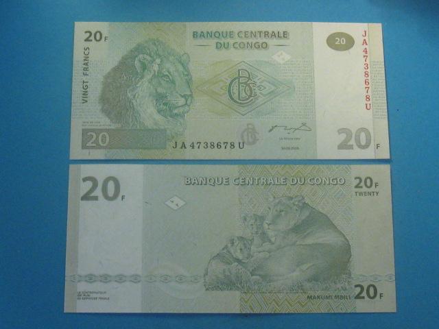 Kongo Banknot 20 Francs 2003 P-94 UNC Lew