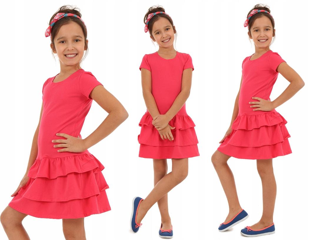 COLORFUL платье с тремя оборками - 146 CORAL