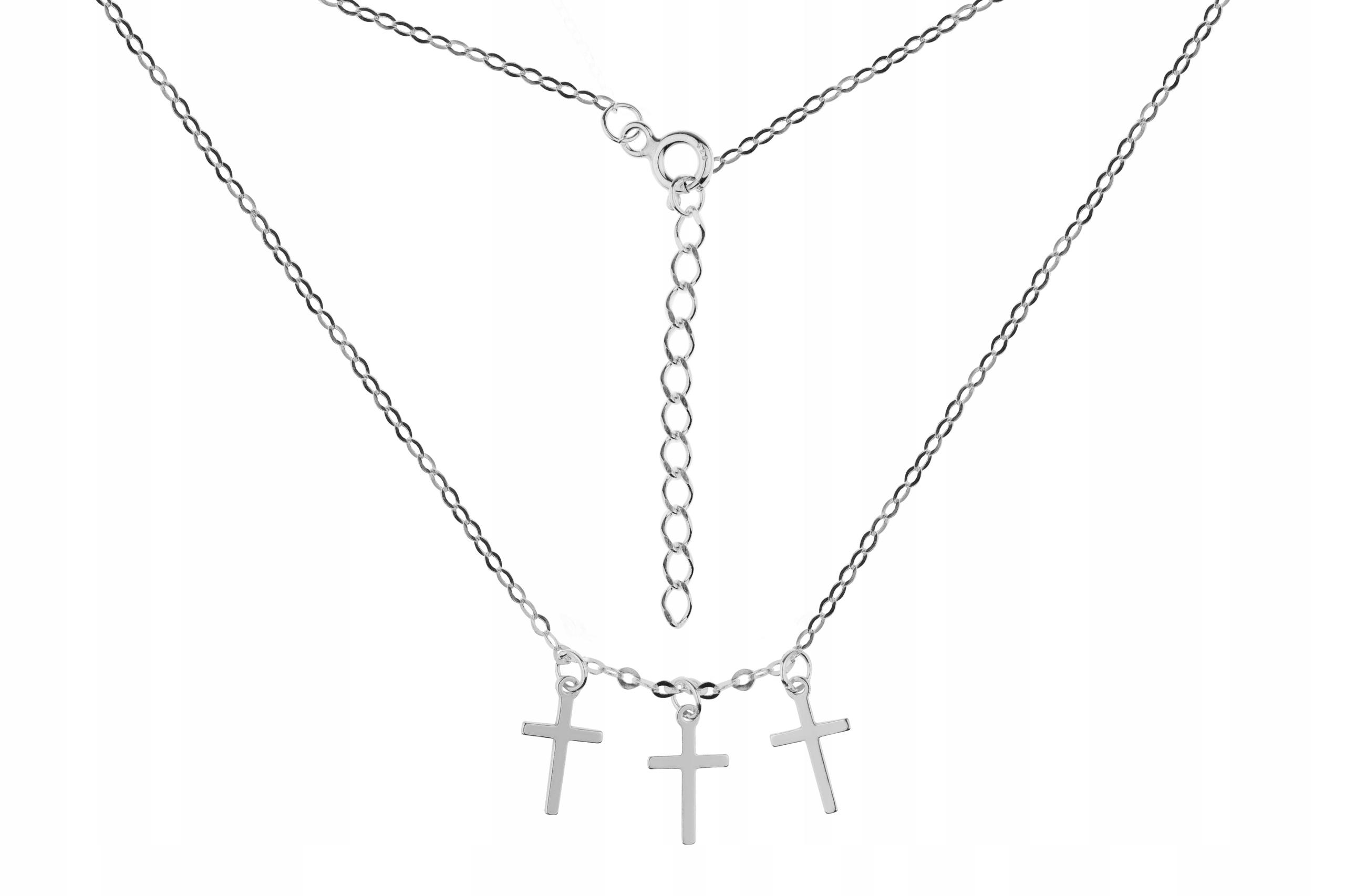 Srebrny naszyjnik Celebrytka 3 Krzyże 44cm pr 925