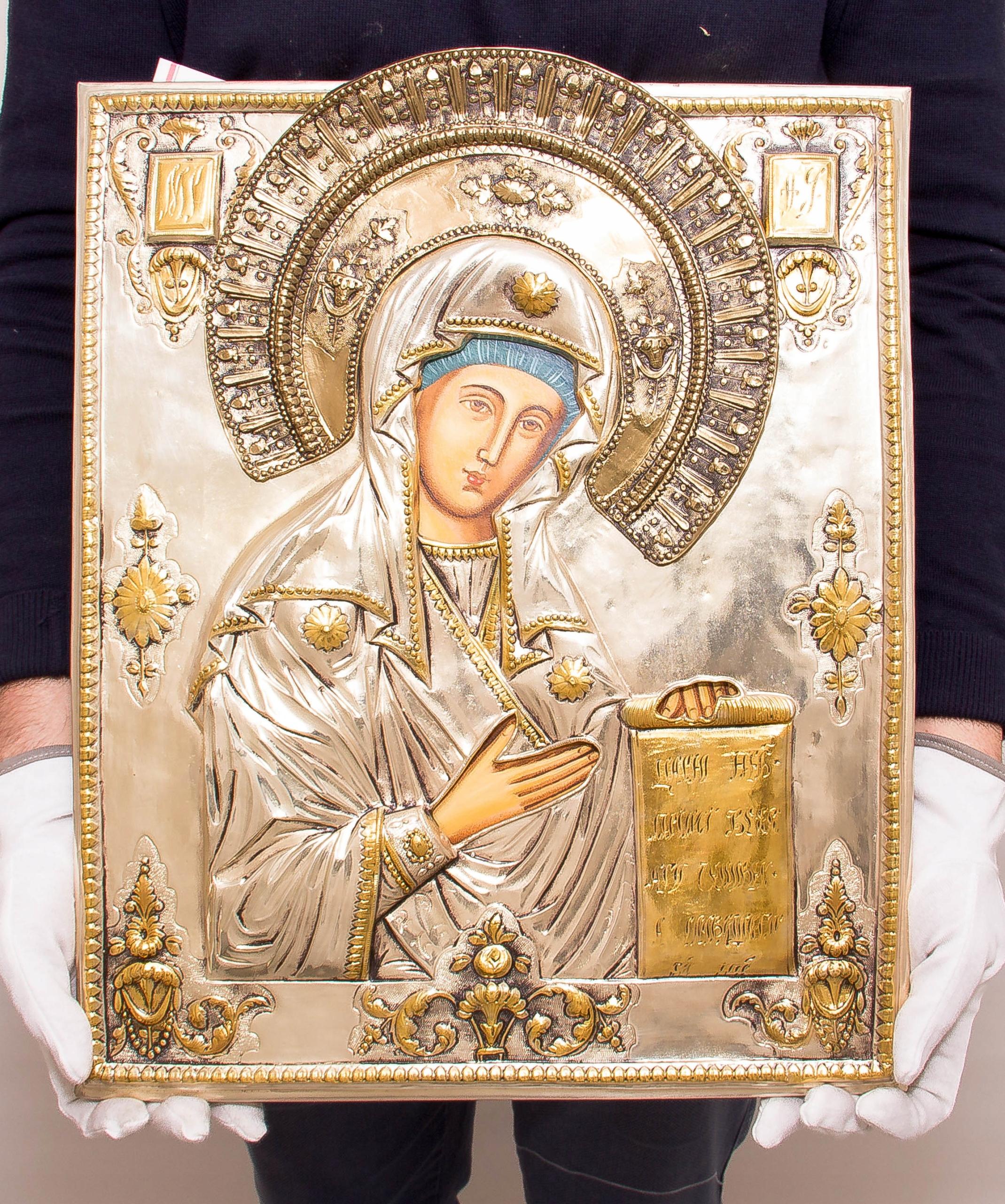 Ikona Matki Bożej Bogolubskiej SREBRO ZŁOTO nr 39 Oryginalność Oryginalne