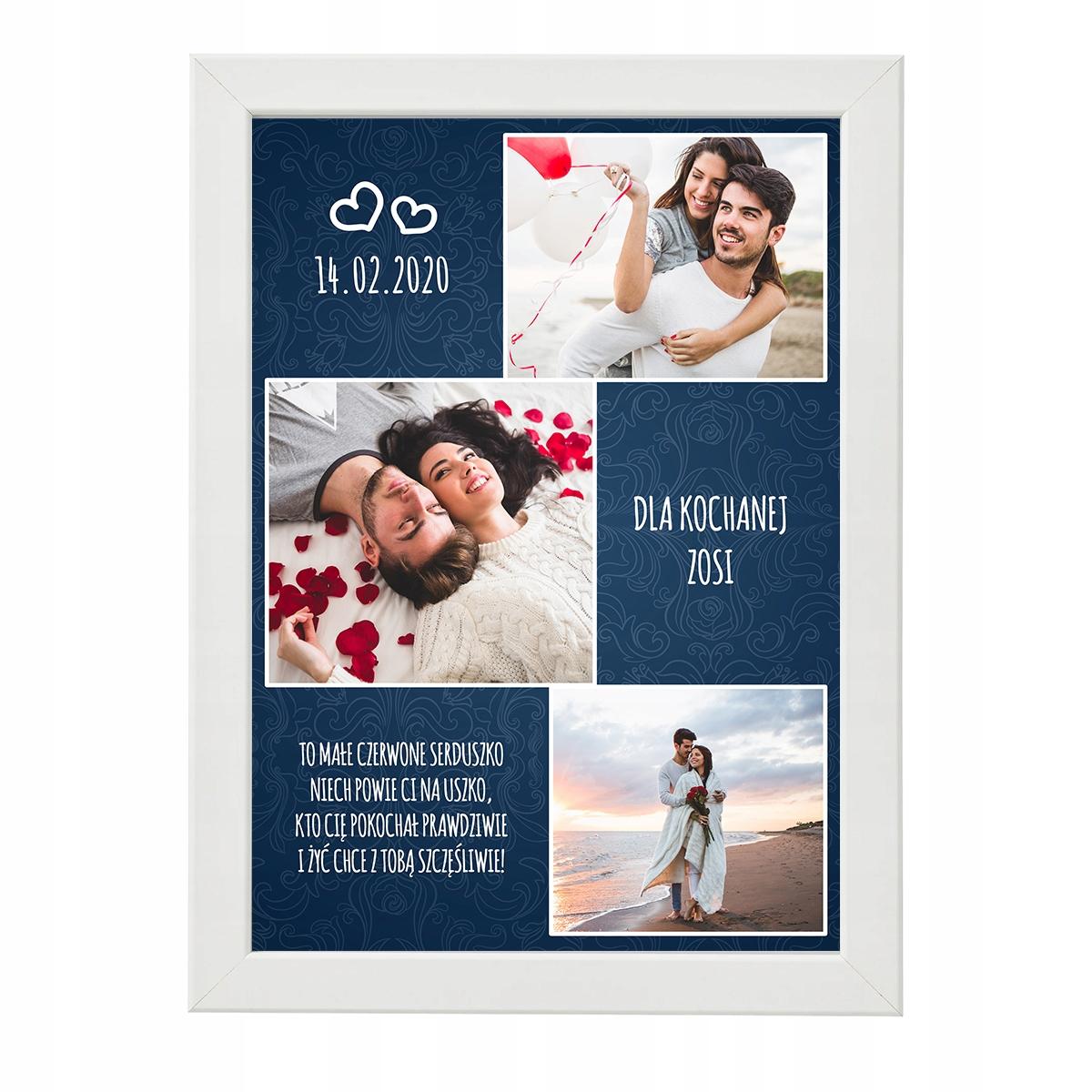 подарок плакат с фотографией на день святого instagram Рама A4