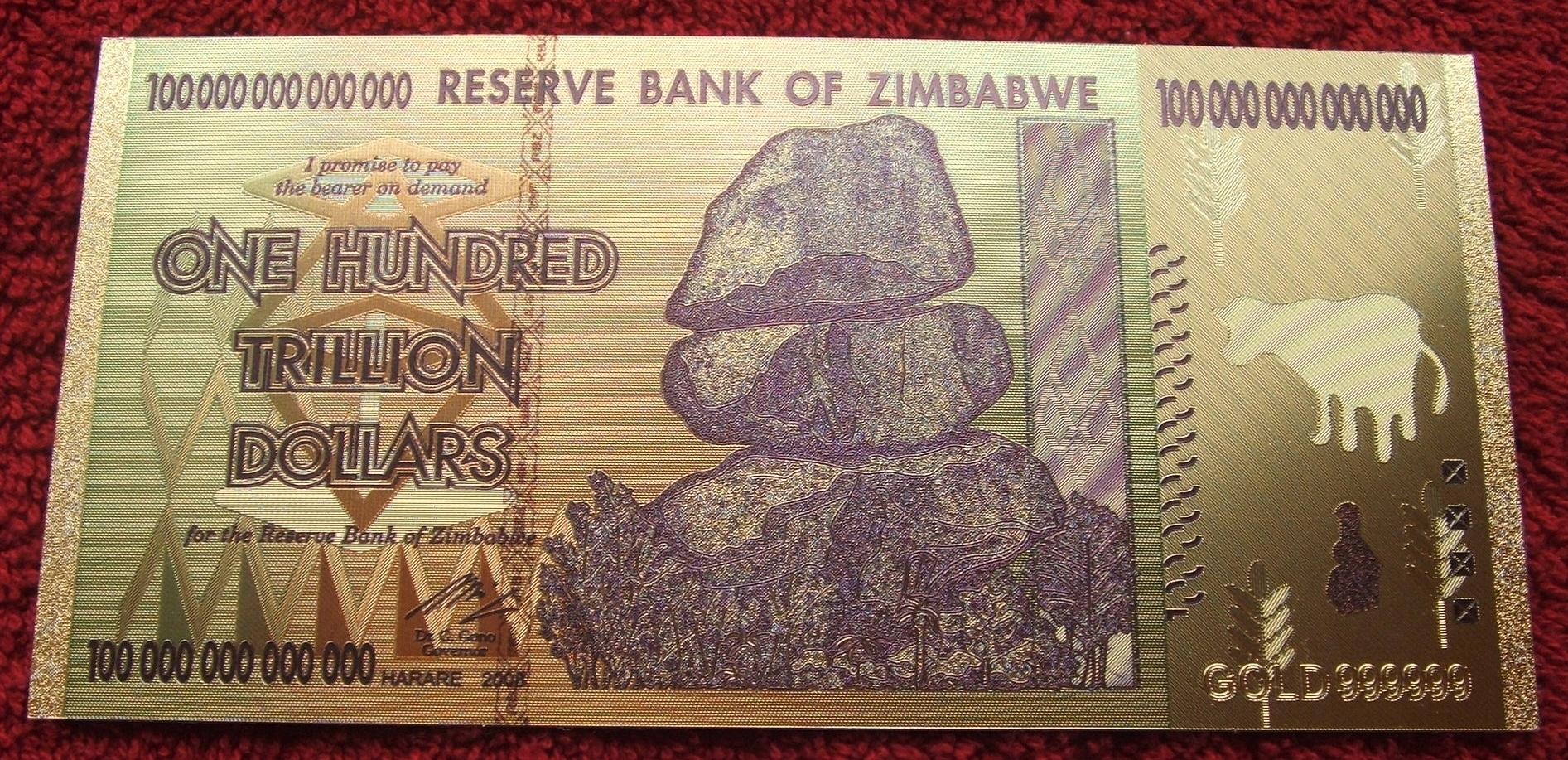 BANKNOTÓW 100 TRYLIONÓW ZIMBABWE 24 KARAT GOLD