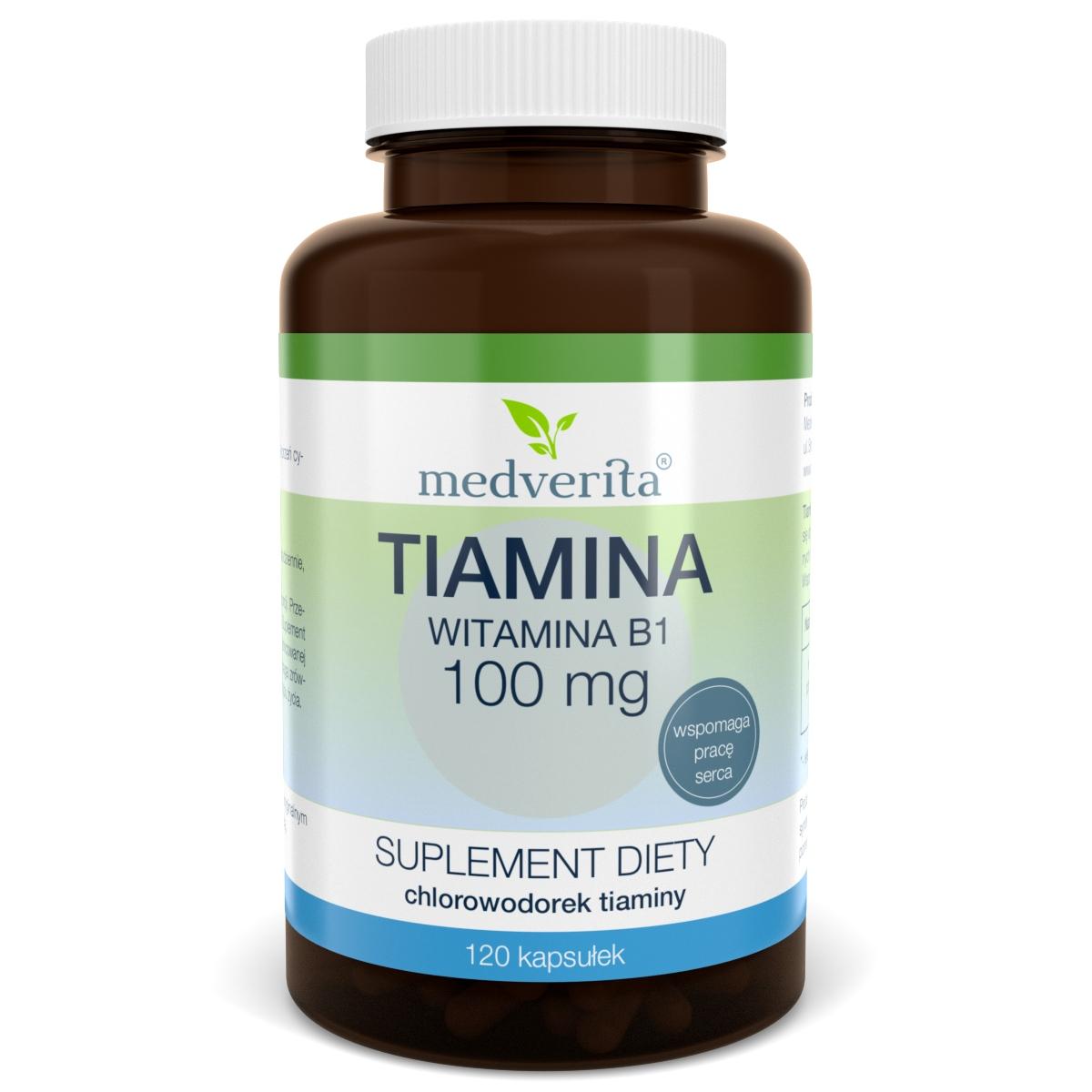 TIAMINA 100mg B-1 Witamina B1 serce - 120 kaps.