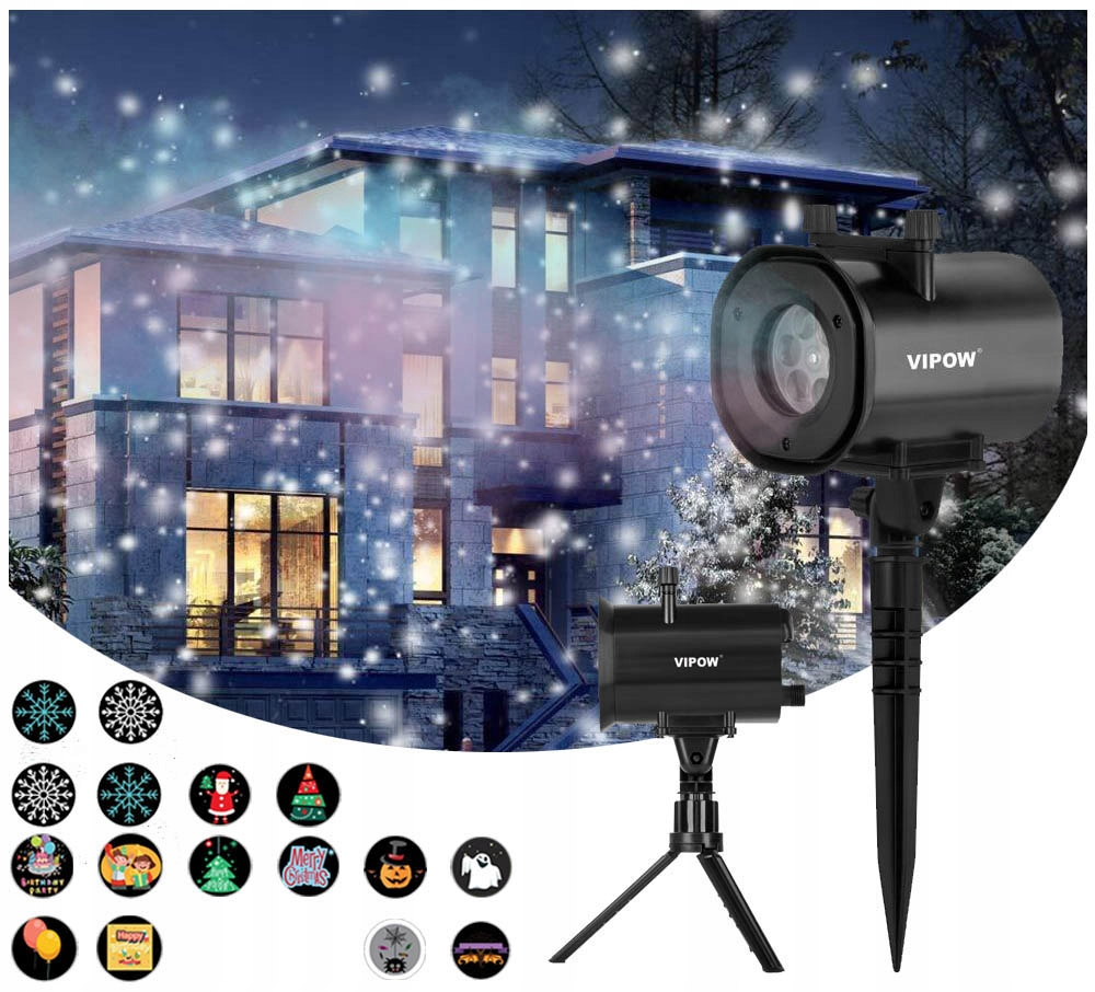 Super 3D LASEROVÝ PROJEKTOR IP44 projektor 4v1 4xLED