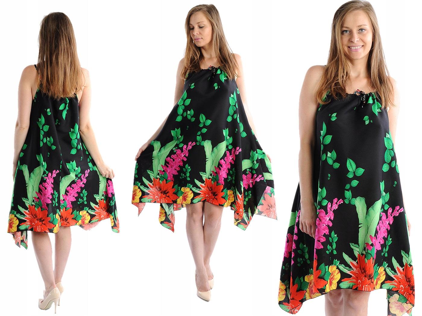 Zwiewna Sukienka Kwiaty Laemi 580 Czarna M L 38 40