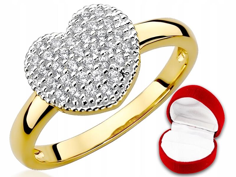 Okazałe Serce Swarovski Złoty pierścionek pr333 13