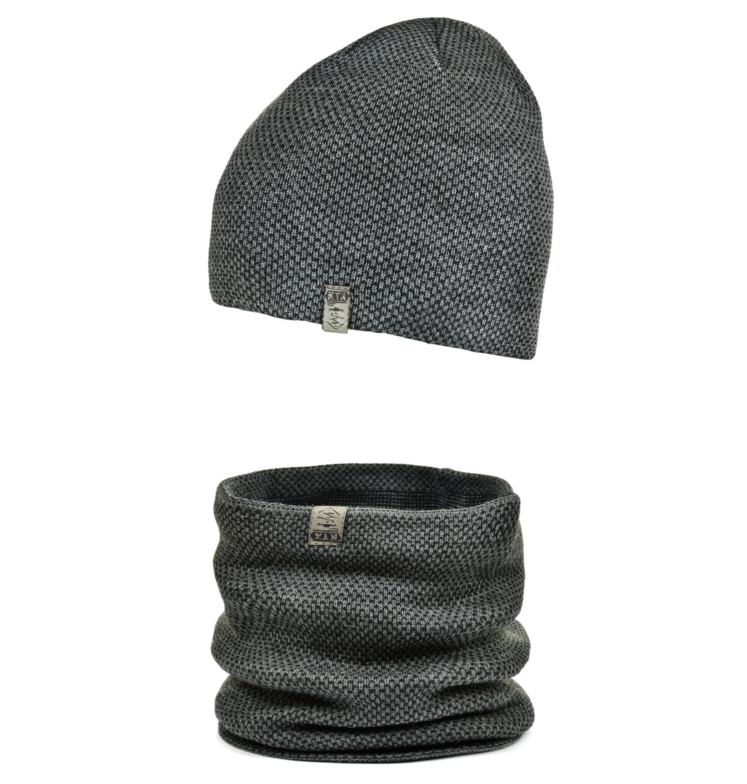 Ciepły chłopięcy KOMPLET czapka + komin WZORY M1