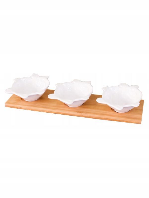 Набор из 3 чашек для погружения + бамбуковая подставка
