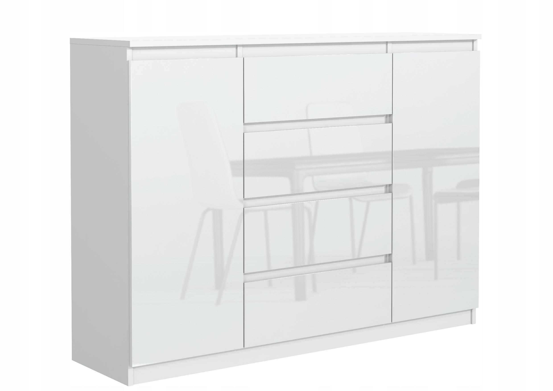 белая КОМОД 140 см 4 ящик 2 двери фронт блеск