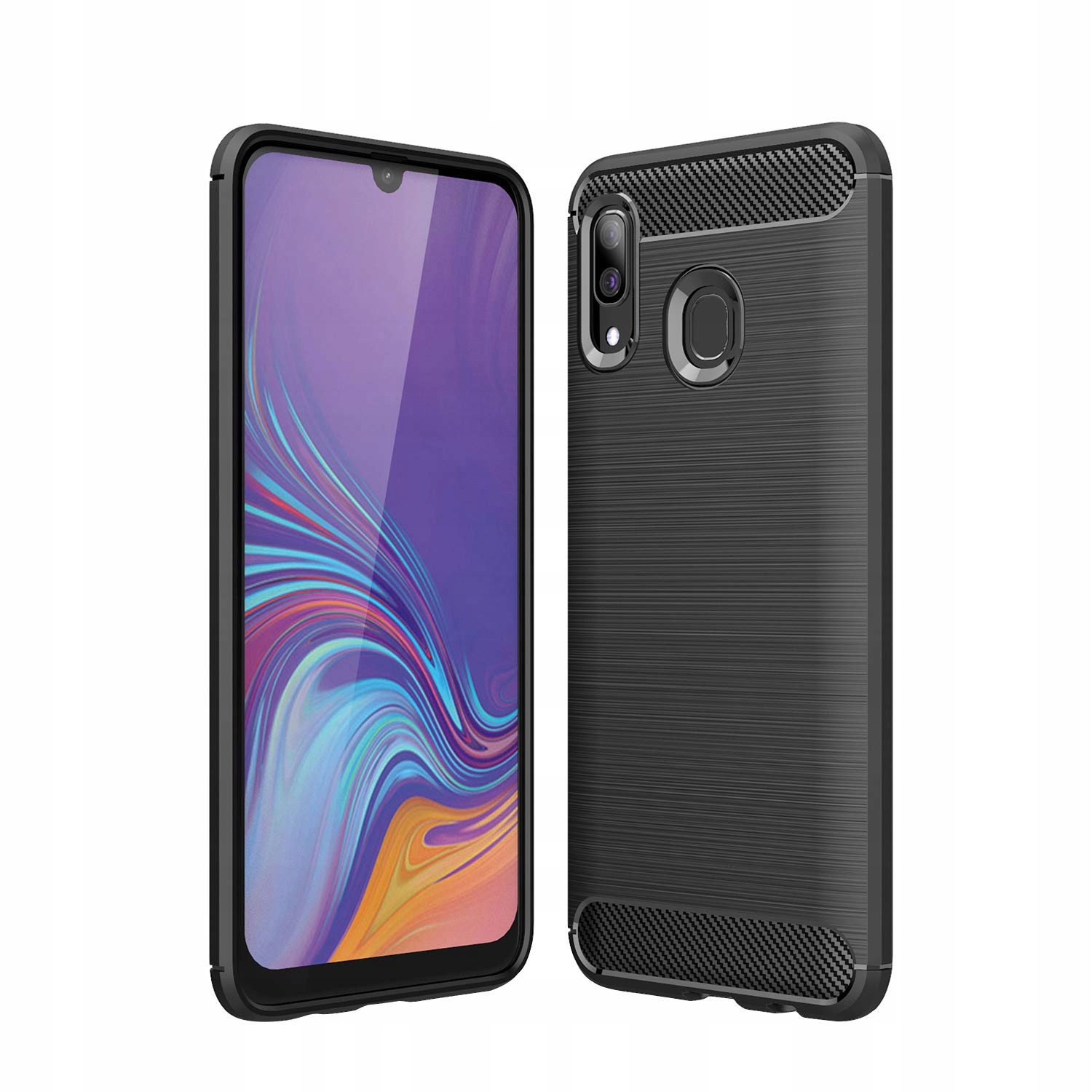 Item CASE CARBON CASE FOR SAMSUNG GALAXY A40 + GLASS