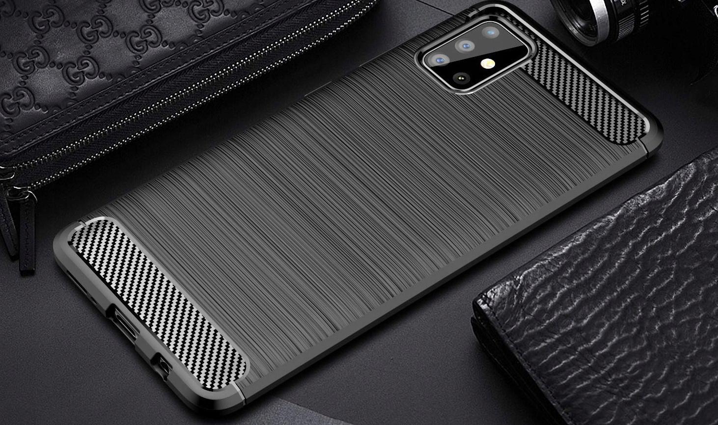 ETUI do Samsung Galaxy M51 KARBON PANCERNE + SZKŁO Kolor czarny