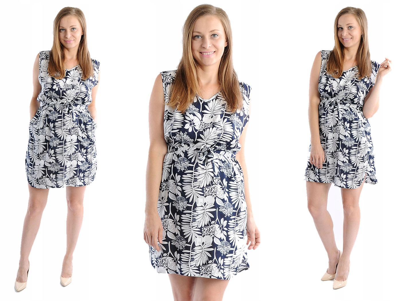 Zwiewna Sukienka Kwiaty Laemi 582 Granatowa XL 42