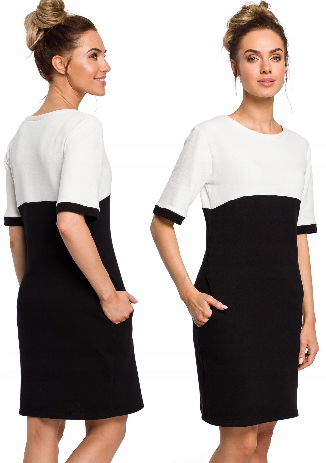 Dwukolorowa Sukienka Dresowa Z Kieszeniami 38