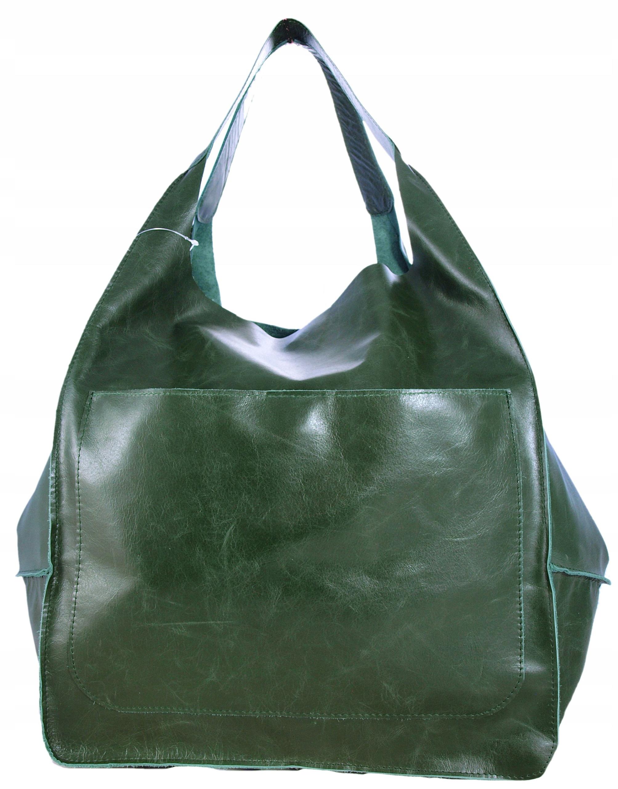 Skórzana zielona Torebka worek model 2W1 Saszetka