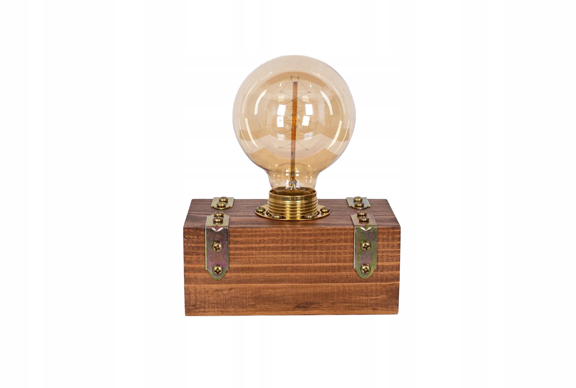 Stolná lampa noc dreva skrzyneczka Edison