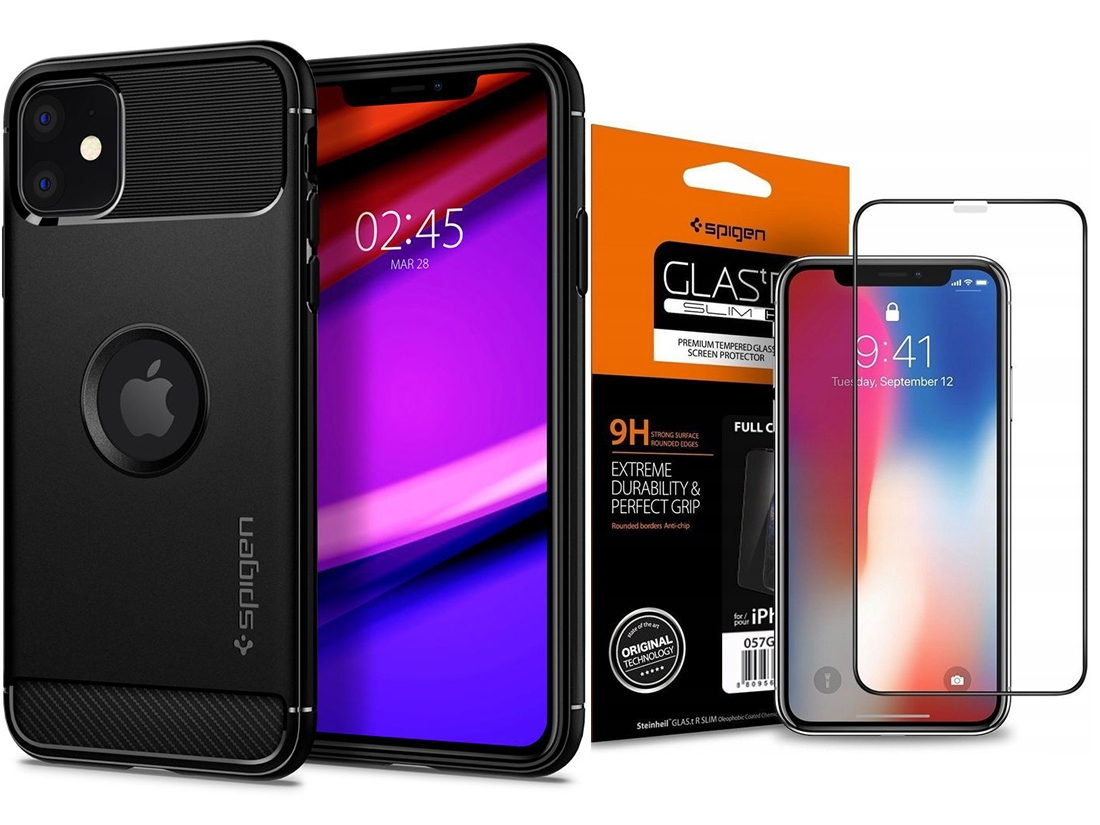 Spigen Rugged Armor Etui Case Do Iphone 11 +szkło