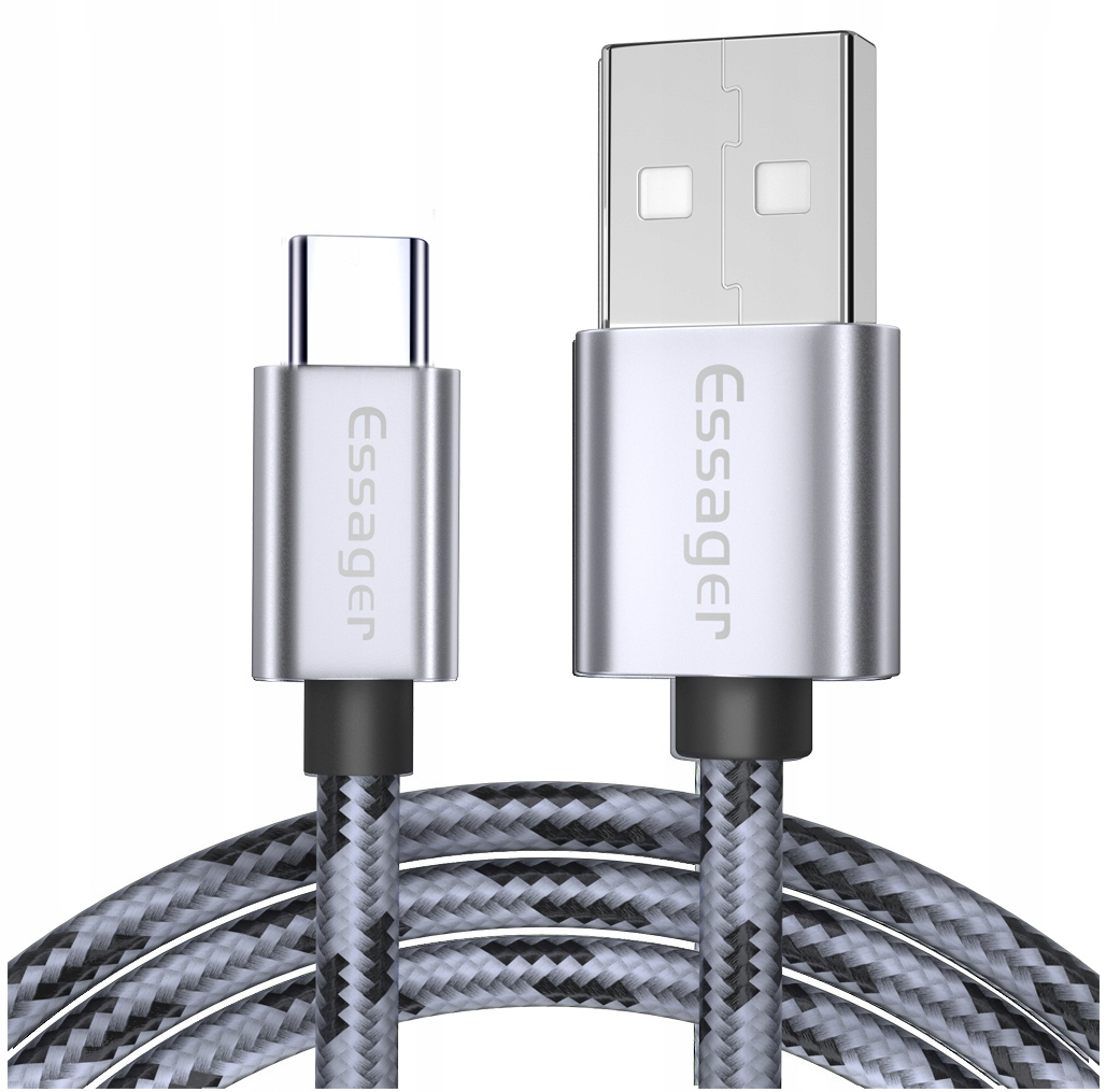 Kabel Usb Essager 3A Type-c Usb-c Qc 3.0 1m Grey