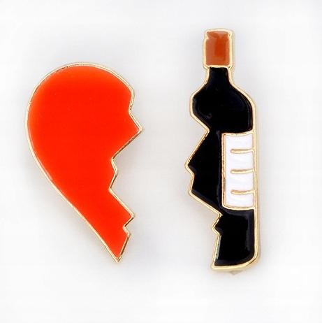 Pins Serce i Wino przypinka Komplet