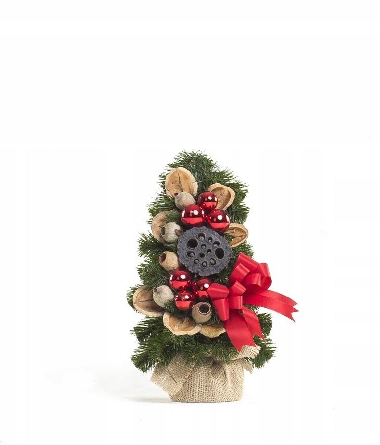 Červený ozdobný kónický vianočný stromček 30 cm