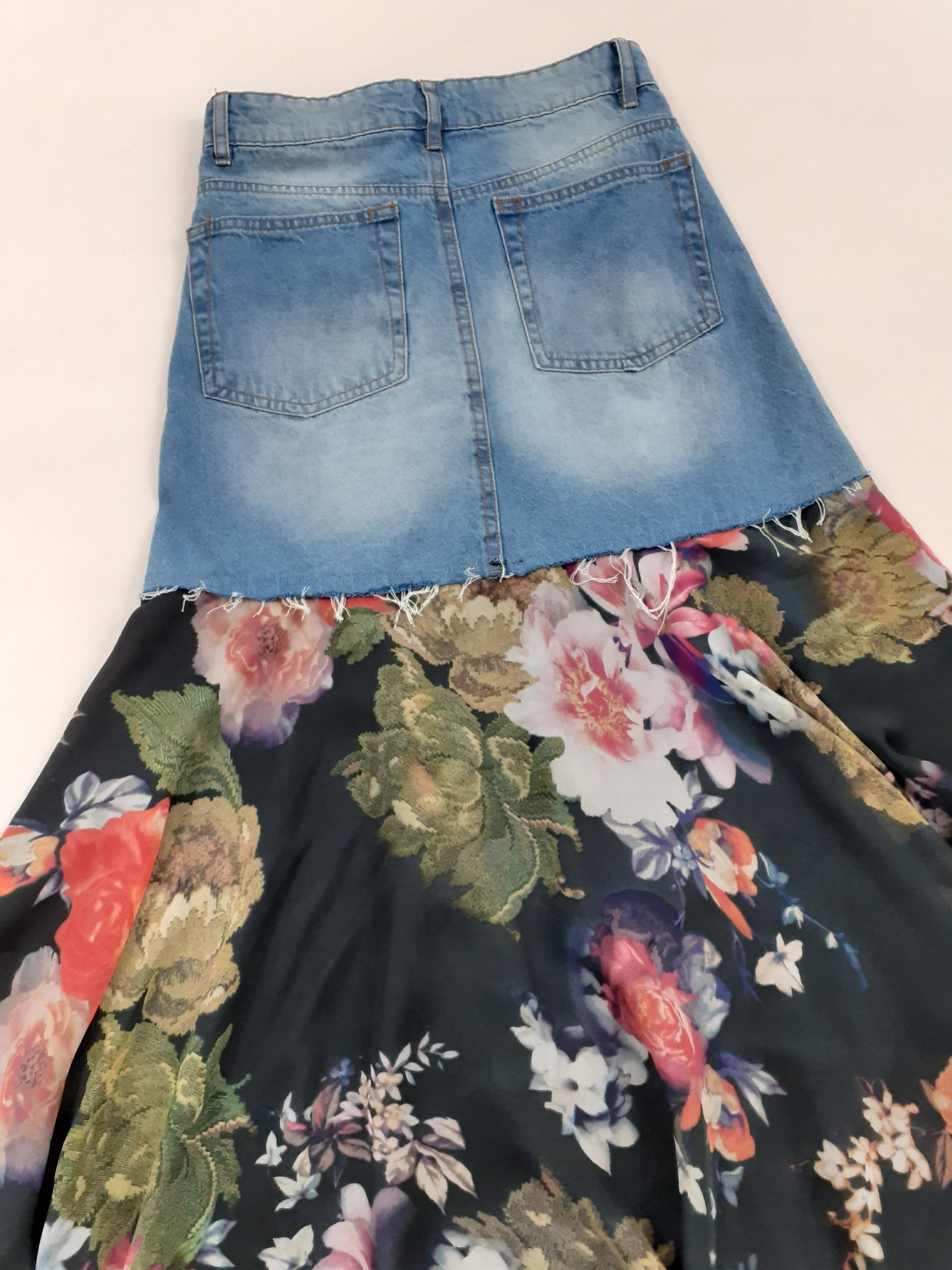 Długa spódnica jeans  maxi  tiul żorżeta  R 36