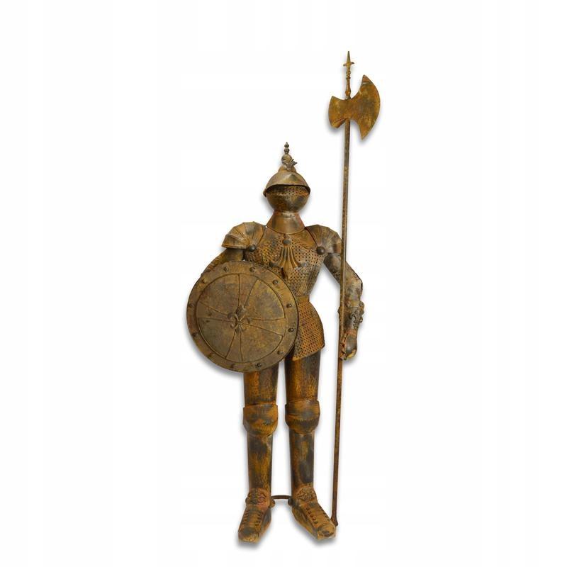 METALOWY RYCERZ -zbroja ozdoba zamek BRĄZ