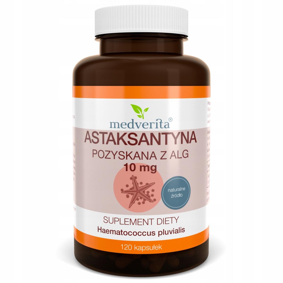 ASTAKSANTYNA 10 mg NATURALNA z Alg - 120 kapsułek