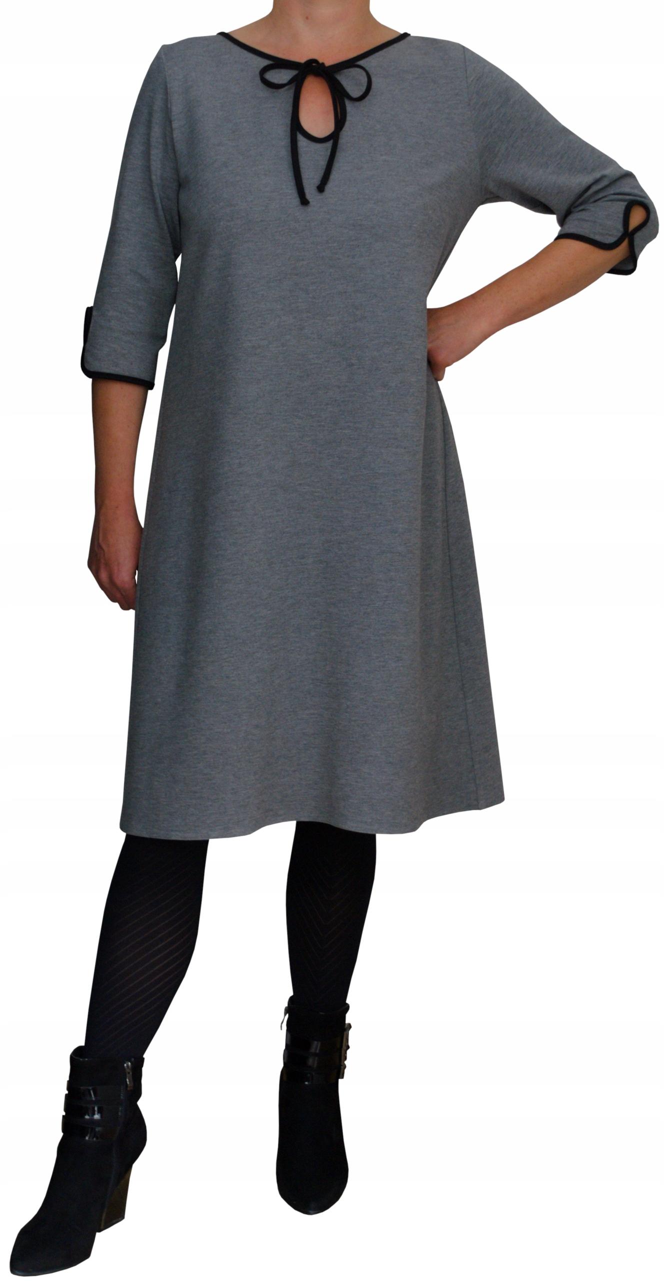 Sukienka trapez dresowa dzianinowa szara melanż 46