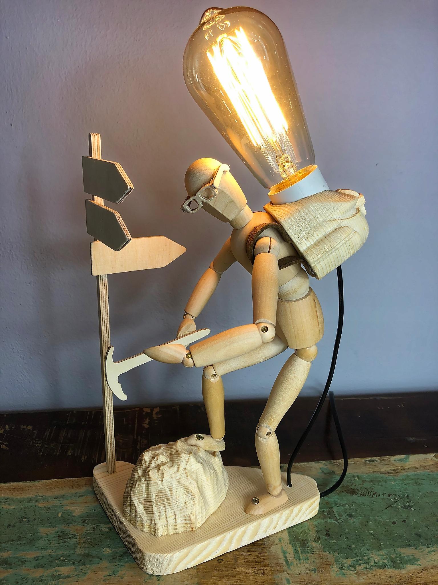 Lampa drevené jedinečný EDISON, obývacia izba