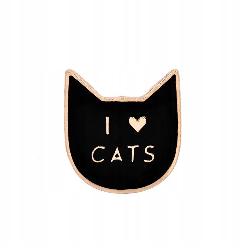 Pins czarny Kot przypinka emaliowana I Love Cats