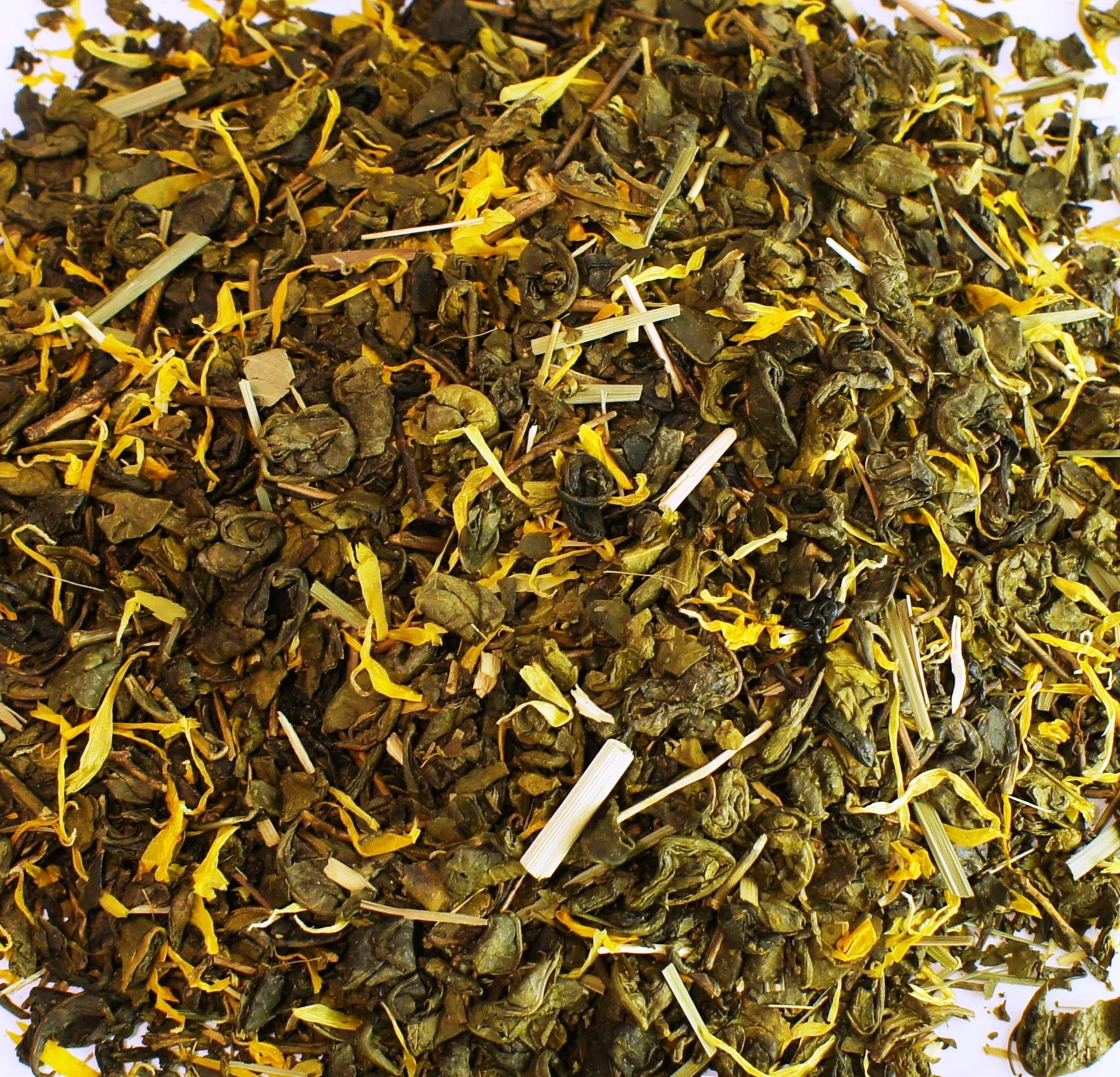 Zelený čaj s príchuťou Ženšen+Citrón 1 kg