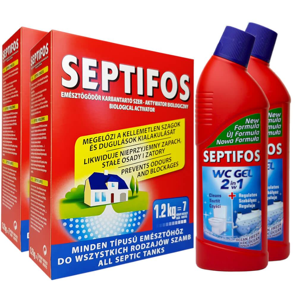 SEPTIFOS 2,4kg + 2x Żel WC 2w1 do SZAMBA ZESTAW