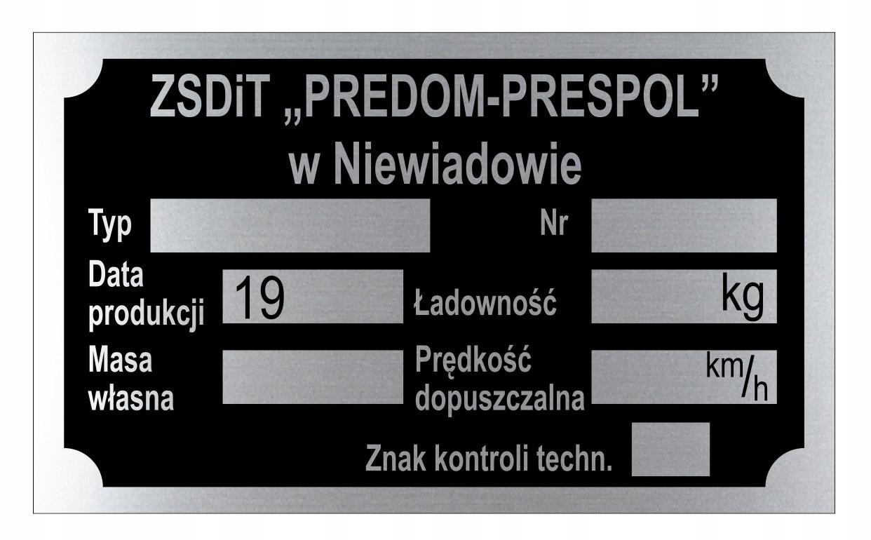 Заводская табличка PREDOM PRESPOL