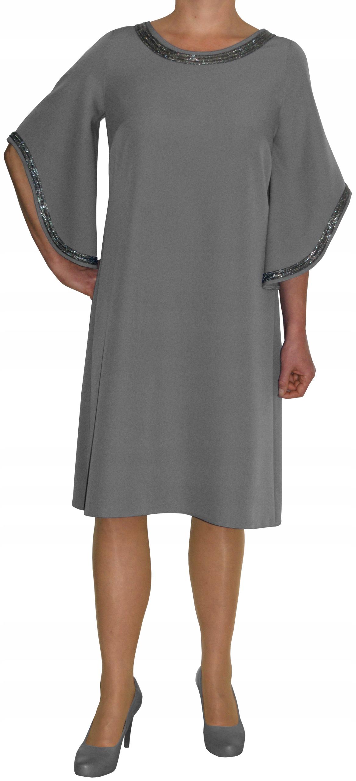 Sukienka trapez elegancka wizytowa szara r 52