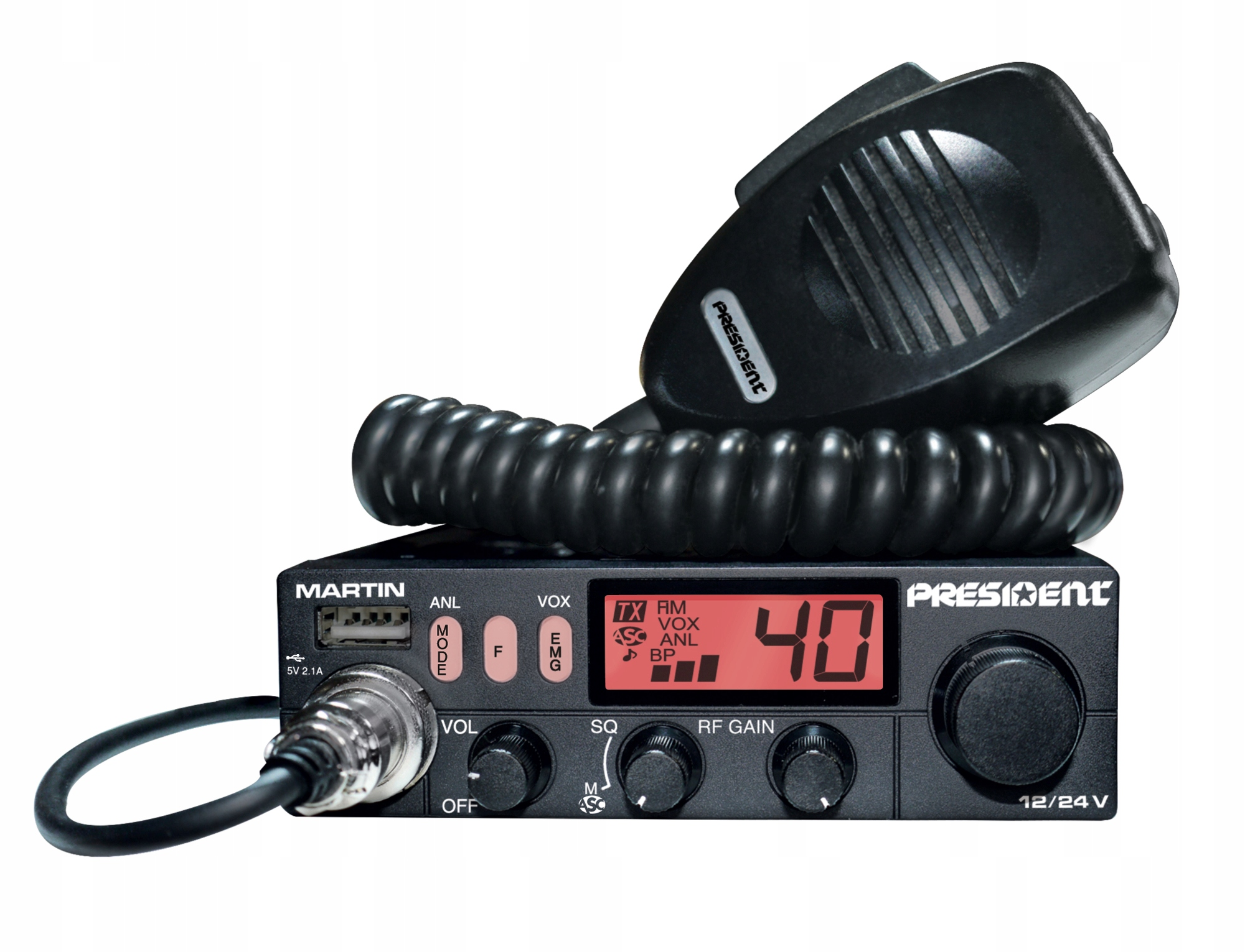 Купить PRESIDENT MARTIN 12/24V компактный CB Радио ASC на Otpravka - цены и фото - доставка из Польши и стран Европы в Украину.
