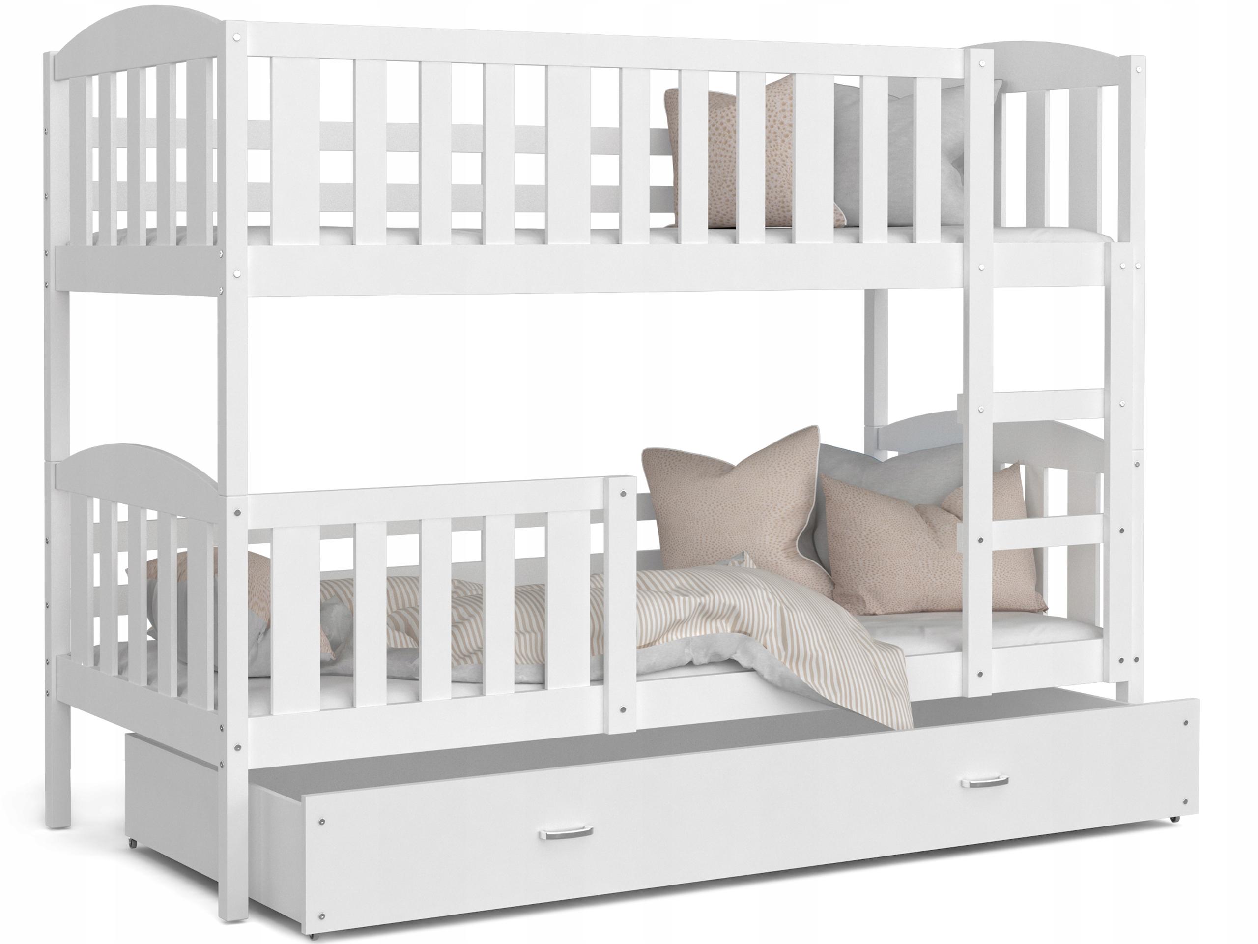 Łóżko piętrowe KUBUŚ białe białe 160x80