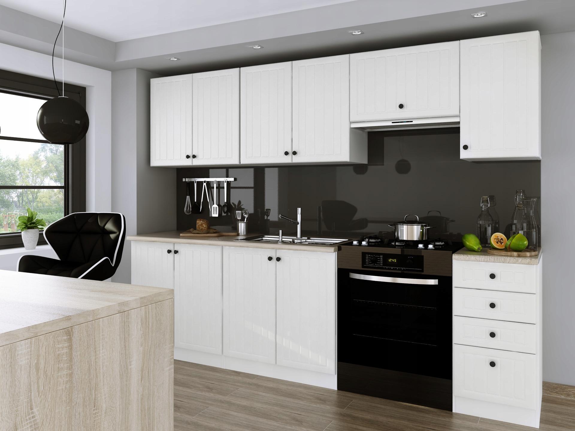 Kuchyňa - 2.40 m, biela, moderná/retro, mlyn