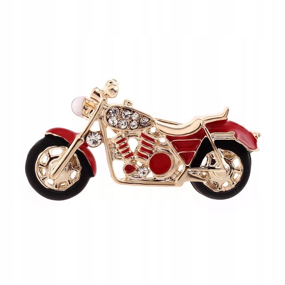 Broszka Motocykl czerwony zdobiony Cyrkonie