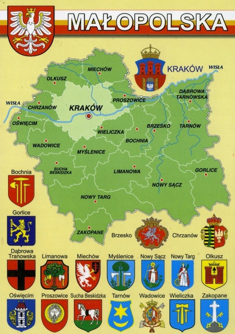 Купить МАЛОПОЛЬСКОЕ ВОЕВОДСТВО КАРТА, ГЕРБЫ WR799 на Otpravka - цены и фото - доставка из Польши и стран Европы в Украину.