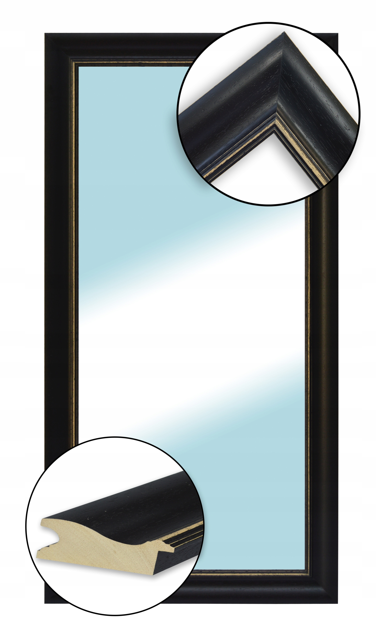 Zrkadlo v DREVENOM ramenný 120x60 v vintage štýl
