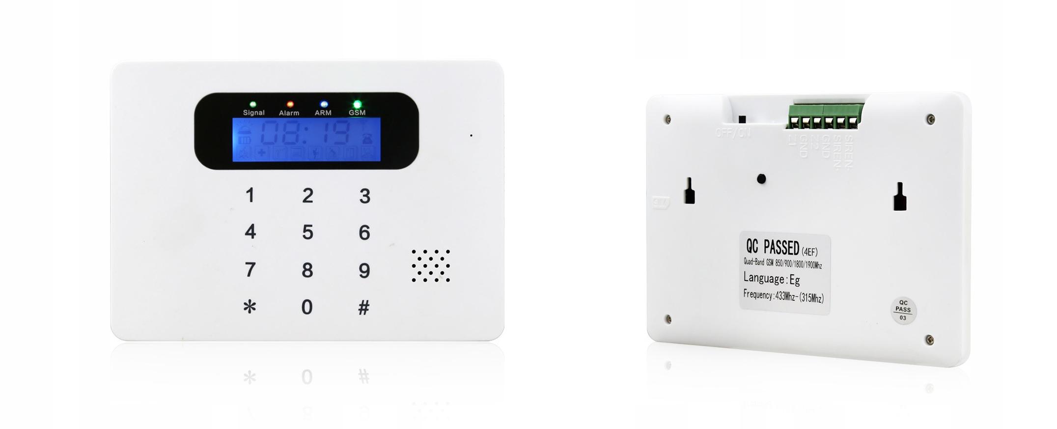 KOMPLETNY BEZPRZEWODOWY ALARM GSM 5 CZUJEK +SYRENA Typ alarmu Bezprzewodowy