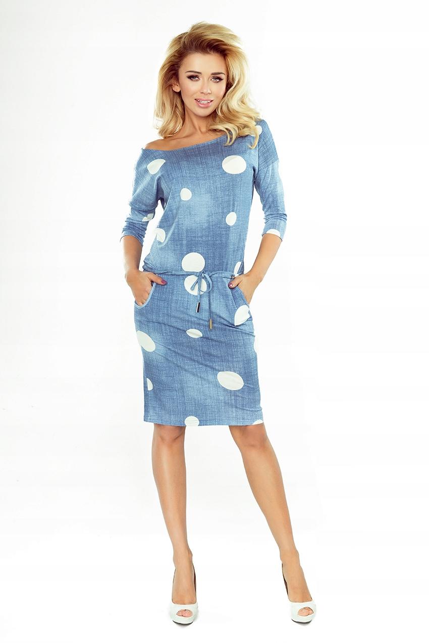 Sukienka dresowa wiązana Grochy Niebieska S 36