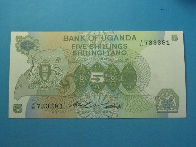 Uganda Banknot 5 Shilings 1982 UNC P-15