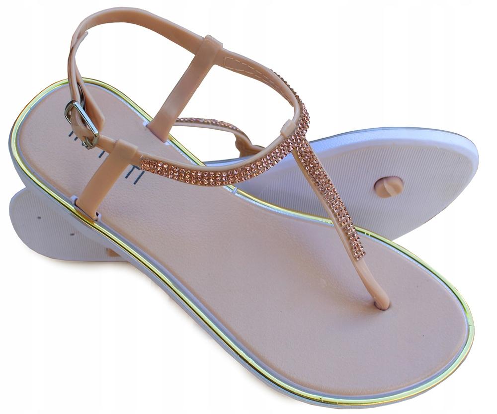 Meliski sandały Cyrkonie japonki Beżowe nude 41
