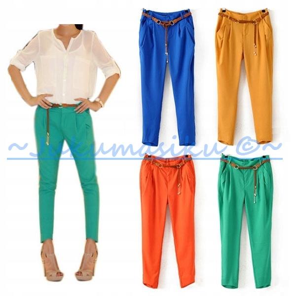 Elegantné nohavice CYGARETKI zelená mäta RETRO L