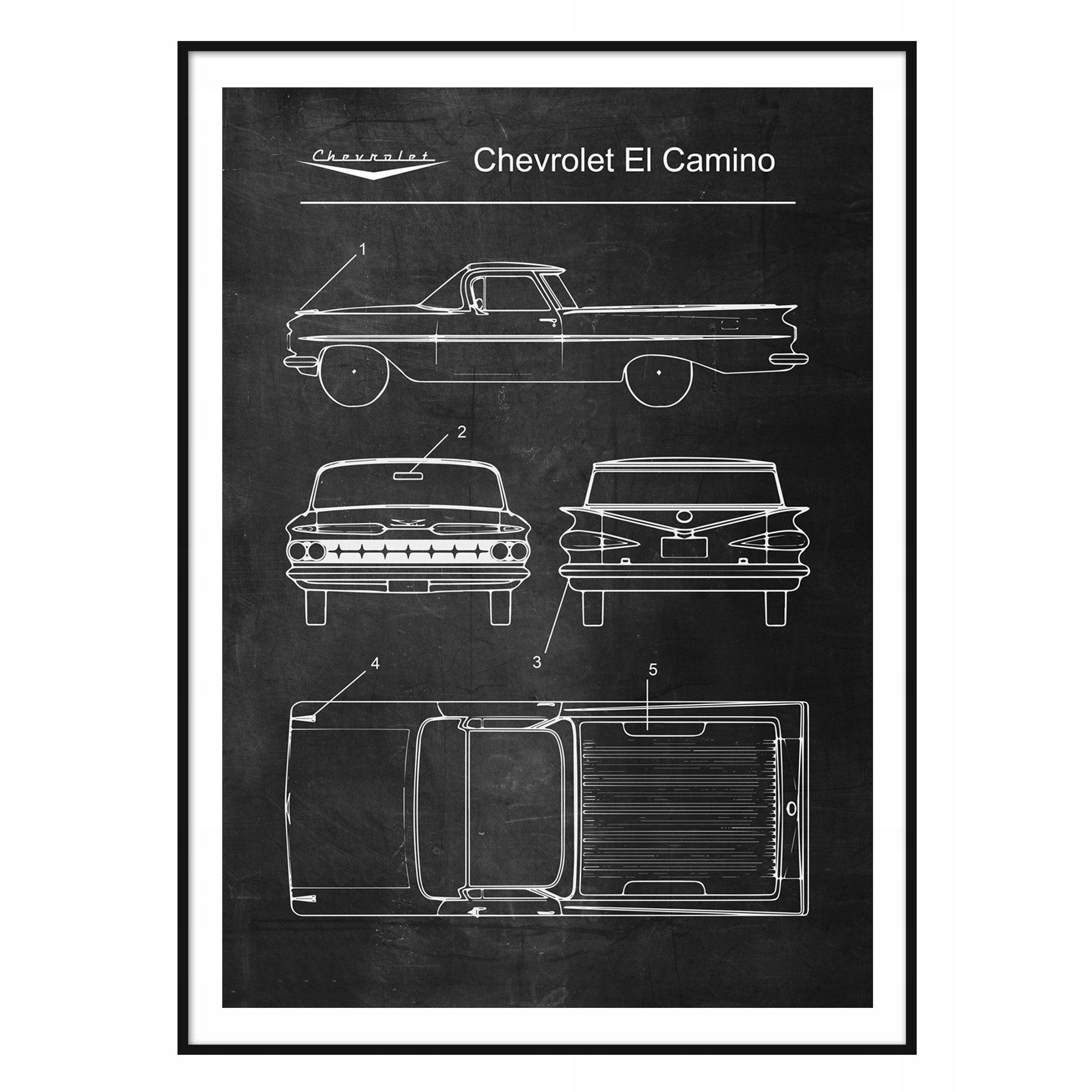 Plagát Chevrolet El Camino Retro-Patent Schémy